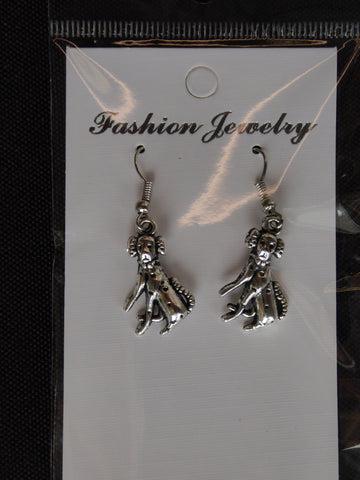 Silver Dalmatian Sitting Dog Earrings (E692)