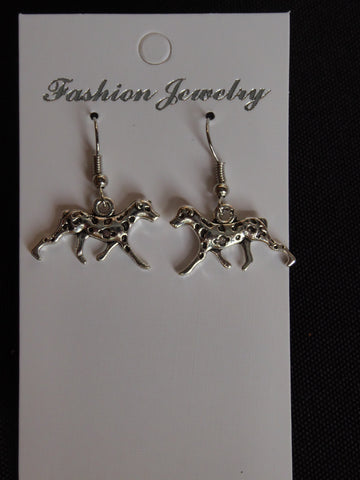 Silver Dalmatian Walking Dog Earrings (E693)