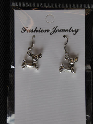 Silver Dachshund Dog Earrings (E695)