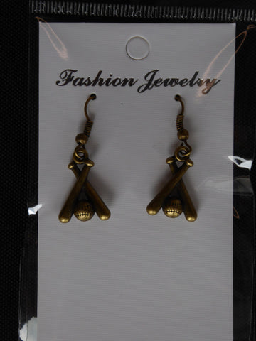 Bronze Baseball Two Bats Earrings (E697)