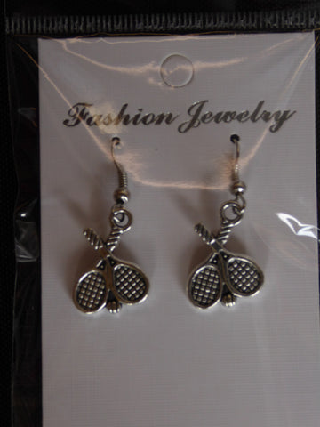 Silver Double Tennis Rackets Ball Earrings (E699)