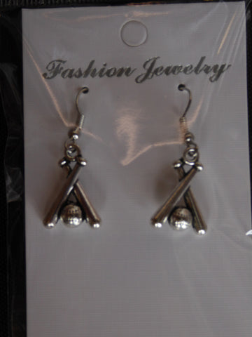 Silver Baseball Two Bats Earrings (E701)