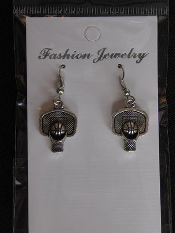 Silver Basketball Hoop Ball Earrings (E702)