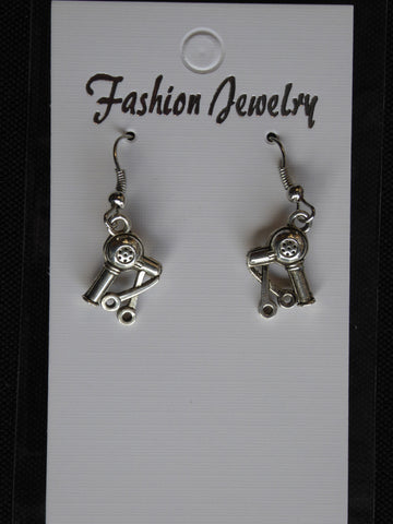 Silver Blow Dryer Scissors Earrings (E705)