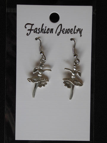 Silver Ballerina Earrings (E706)