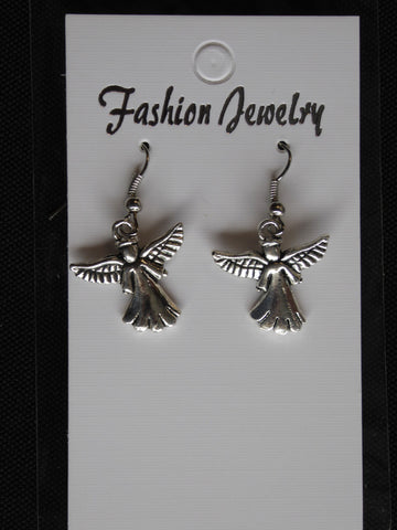 Silver Angel Scalloped Dress Earrings (E707)