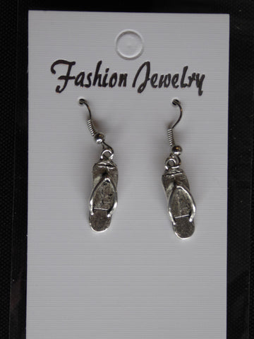 Silver Flip Flop Earrings (E709)
