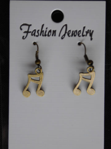 Bronze Musical Note Earrings (E714)