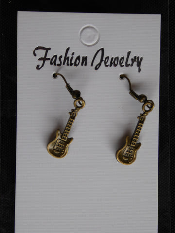 Bronze Guitar Earrings (E715)