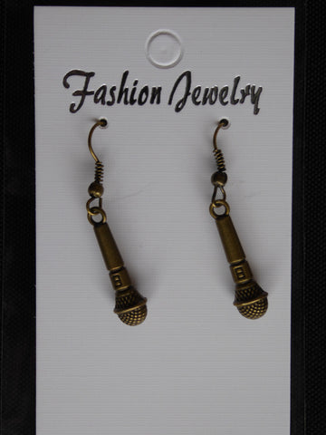 Bronze Microphone Earrings (E716)