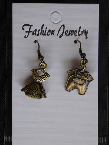 Bronze Dress Overalls Earrings (E719)