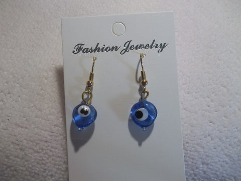 Blue Glass Evil Eye Heart Shaped Earrings (E725)