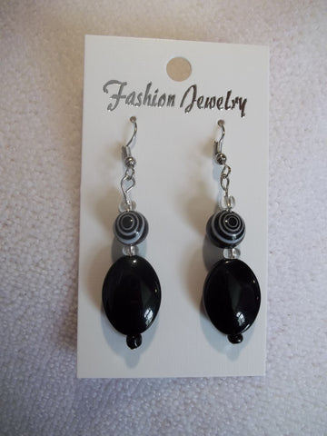 Silver Black White Glass Bead Earrings (E727)