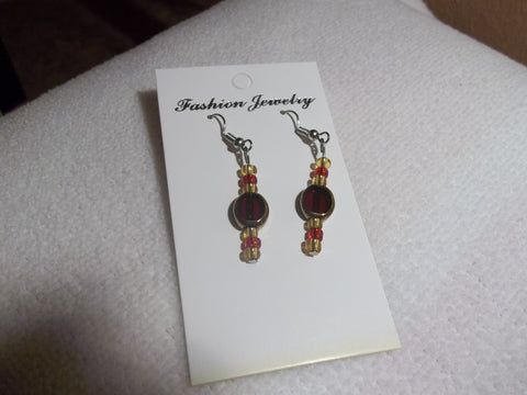 Silver Gold Red Glass Bead Earrings (E729)