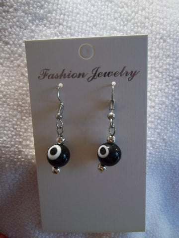 Silver Black Evil Eye Earrings (E731)