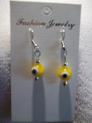 Silver Yellow Evil Eye Earrings (E733)