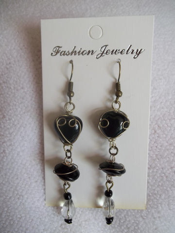 Bronze Black Wrapped Glass bead Clear Tear Drop Crystal Earrings (E737)