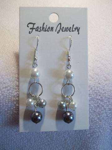 Silver Dangle Gray White Pearl Earrings (E739)