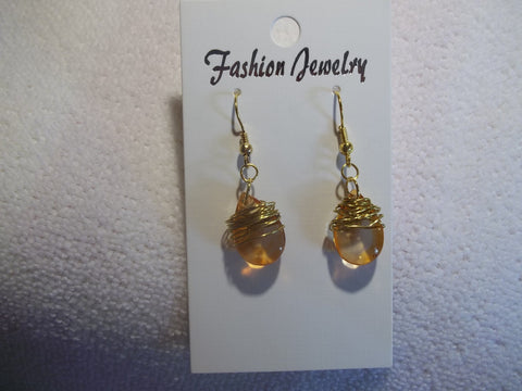 Gold Wire Wrapped Orange Tear Drop Earrings (E740)