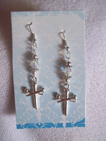 Silver Nail Cross Earrings (E741)
