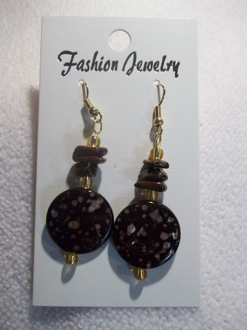 Gold Round Brown Speckle Bead Rocks Earrings (E742)