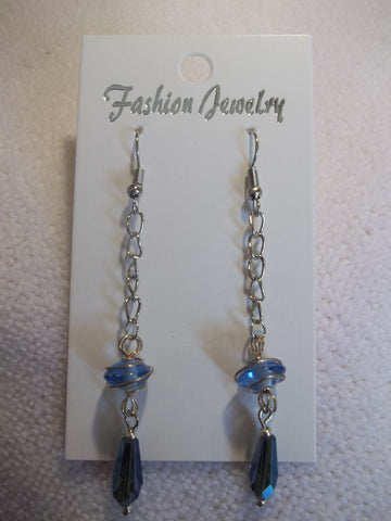 Silver Chain Blue Wrapped Bead Tear Drop Bead Earrings (E743)