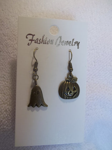 Jack o Lantern Ghost Bronze Earrings (E744)