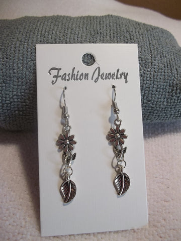 Silver Flower Silver Leaf Earrings (E754)