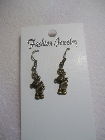 Bronze Teddy Bear holding Flower Earrings (E757)