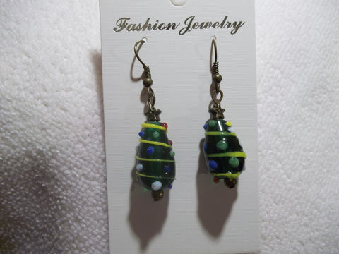 Bronze Glass Christmas Tree Earrings (E758)