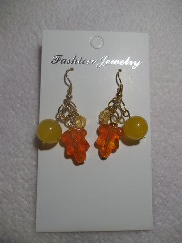 Gold Glass Fall Leaf Earrings (E759)