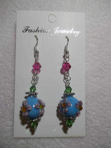 Silver Glass Light Blue Flowers Earrings (E761)