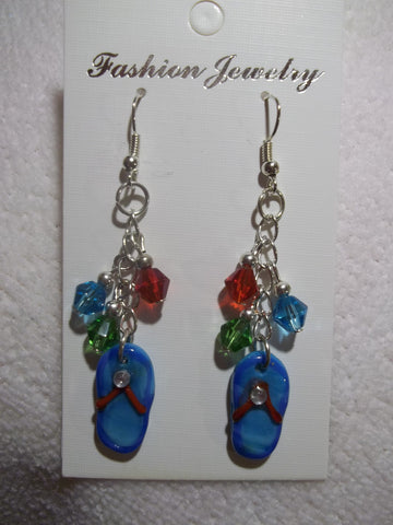 Silver Blue Glass Flip Flop Earrings (E762)