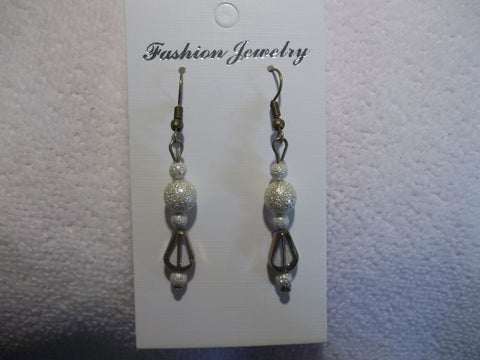 Antique White Clear Bronze Trim Glass Bead Earrings (E764)