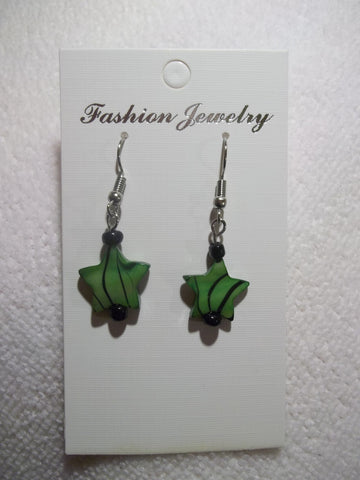 Green Glass Star Earrings (E766)