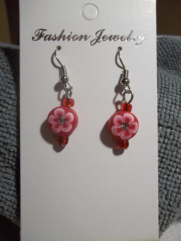 Red Flower Bling Earrings (E770)