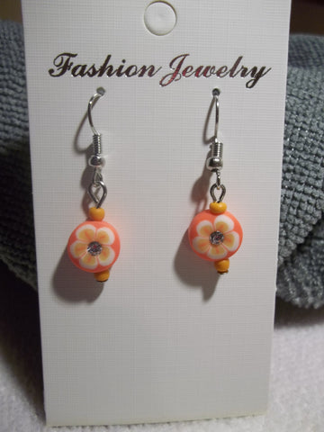 Orange Flower Bling Earrings (E771)