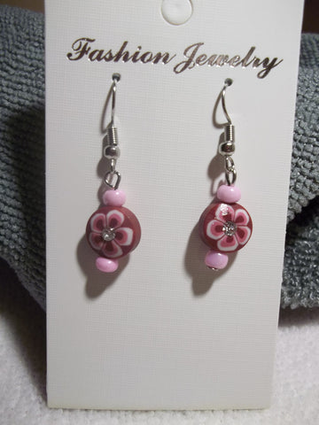Pink Burgundy Flower Bling Earrings (E772)