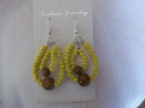Silver Double Yellow Seed Bead Wooden Bead Earrings (E774)