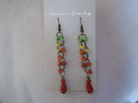 Bronze Multi Color Beads Red Tear Drop Earrings (E775)