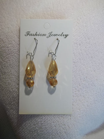 Silver Peach Crystal Tear Drop Earrings (E776)