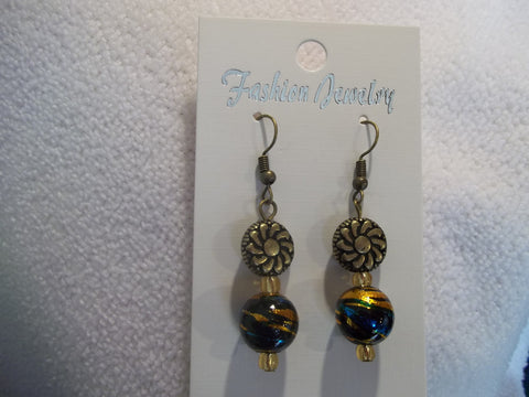 Bronze Glass Black Blue Gold Bead Earrings (E779)