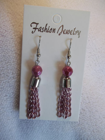Pink Chain Tassel Earrings (E781)