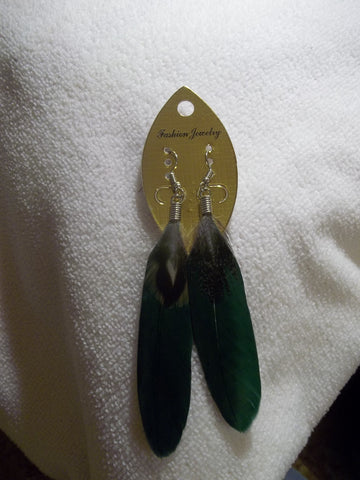 Dark Green Feather Earrings (E783)