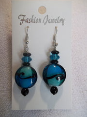 Blue Black Glass Bead Earrings (E790)
