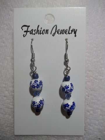 Blue White Flower Glass Bead Earrings (E791)
