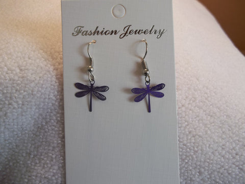 Tiny Purple Metal Dragonfly Earrings (E793)