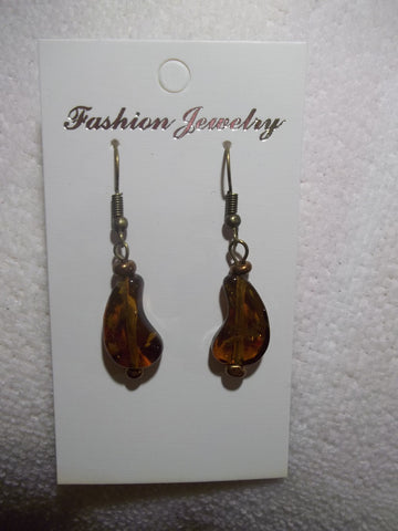 Bronze Brown Glass Curve Shape Earrings (E796)