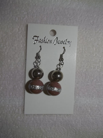 Light Brown Glass Bead Silver Earrings (E797)