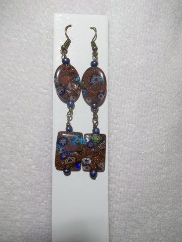 Bronze Copper Flower Blue Glass Bead Earrings (E798)